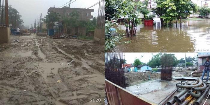 डबल डेकर निर्माण से उत्पन्न जलजमाव की शिकायत पर हरकत में आया विभाग, मांगी रिपोर्ट