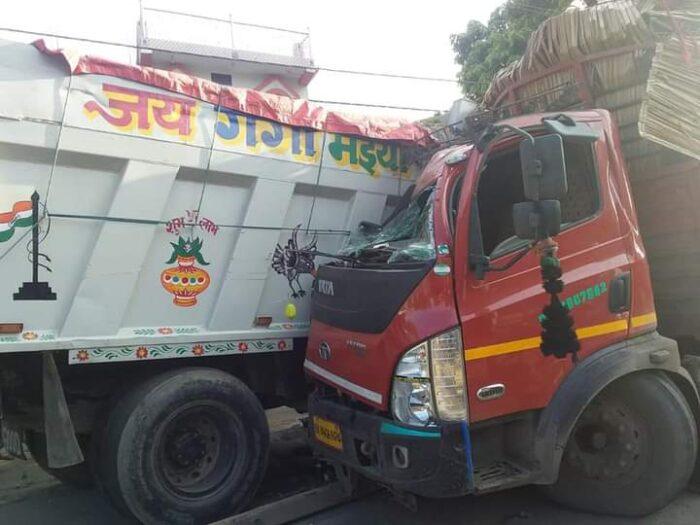 दिघवारा में ट्रक और डम्फर की टक्कर में चालक घायल, 7 घण्टे तक जाम रहा NH-19