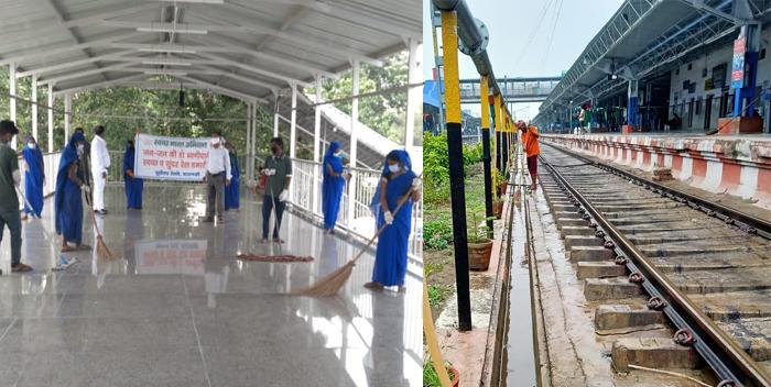 डीआरएम ने किया स्टेशन का निरीक्षण, कार्यो की प्रगति देख दिखे संतुष्ट