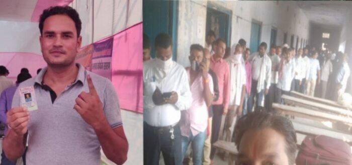 मतदान कर्मियों ने भी किया अपने मताधिकार का प्रयोग, डाला वोट
