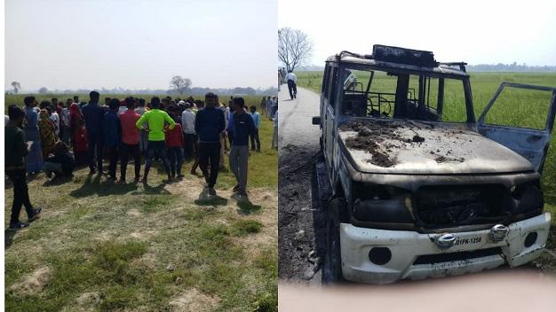 सारण: वार्ड सदस्य की गोली मारकर हत्या, आक्रोशितों ने पुलिस वाहन को किया क्षतिग्रस्त